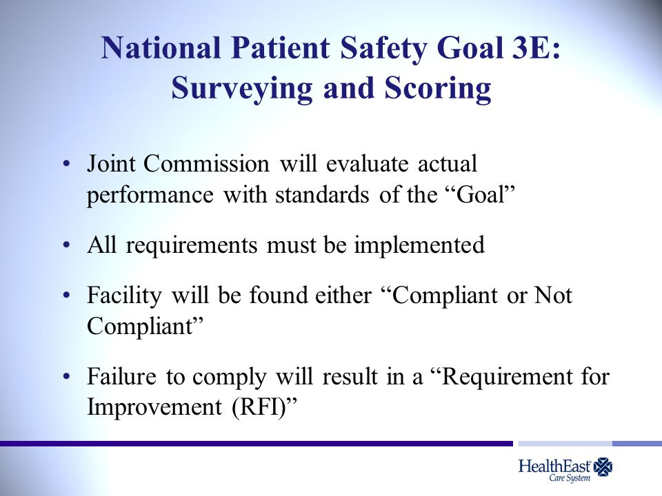 National Patient Safety Goal 3E: Surveying and Scoring Joint Commission will evaluate actual performance with standards of the Goal All requirements must be implemented Facility will be found either Compliant or Not Compliant Failure to comply will result in a Requirement for Improvement (RFI)