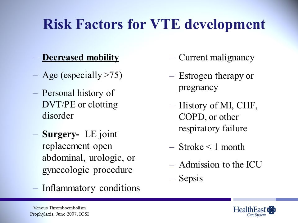 Risk Factors for VTE development –Decreased mobility –Age (especially >75) –Personal history of DVT/PE or clotting disorder –Surgery- LE joint replacement open abdominal, urologic, or gynecologic procedure –Inflammatory conditions –Current malignancy –Estrogen therapy or pregnancy –History of MI, CHF, COPD, or other respiratory failure –Stroke < 1 month –Admission to the ICU –Sepsis Venous Thromboembolism Prophylaxis, June 2007, ICSI