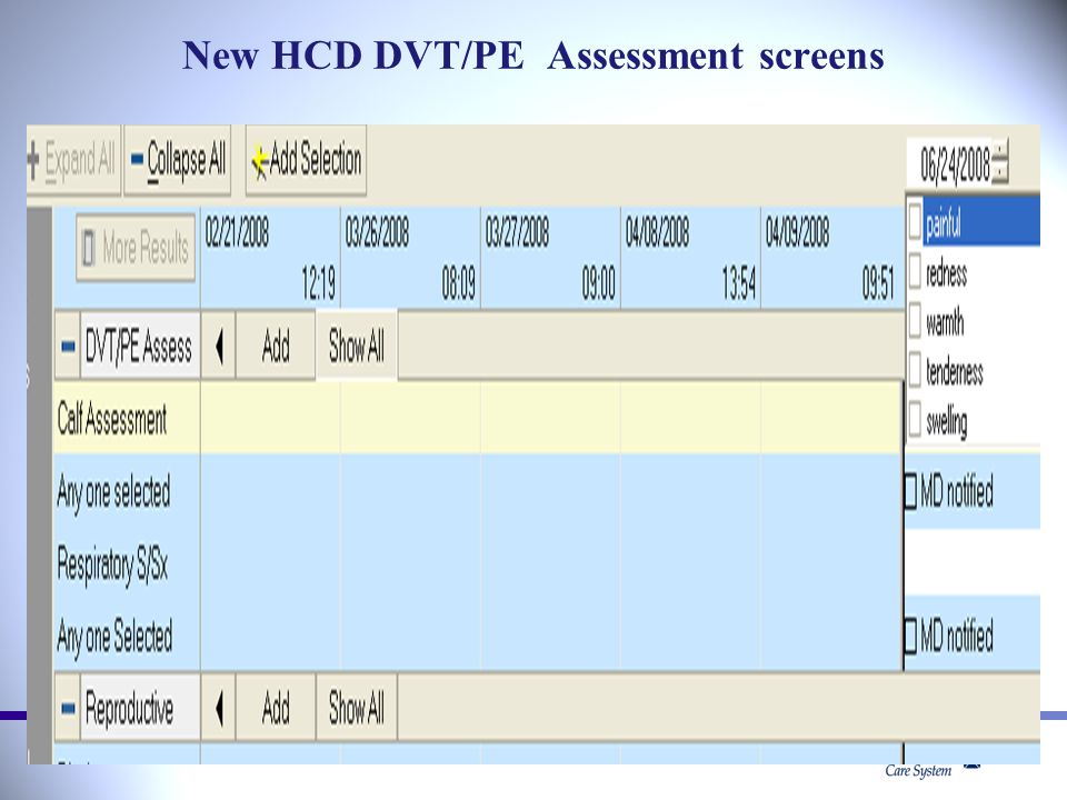 New HCD DVT/PE Assessment screens