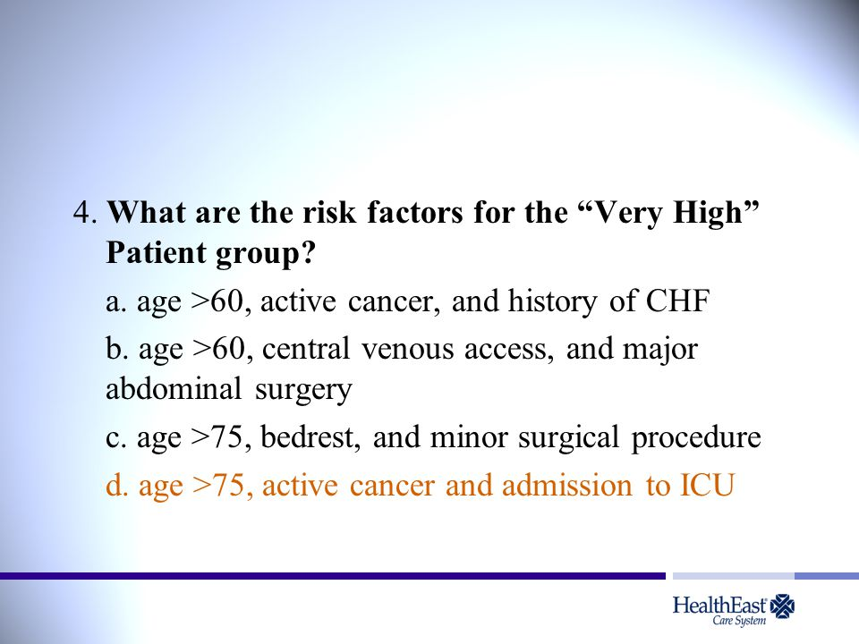 4. What are the risk factors for the Very High Patient group.