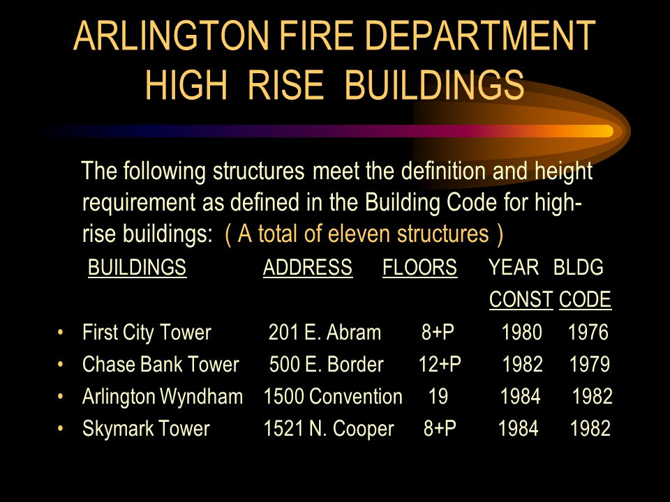 ARLINGTON FIRE DEPARTMENT HIGH RISE BUILDINGS The following structures meet the definition and height requirement as defined in the Building Code for