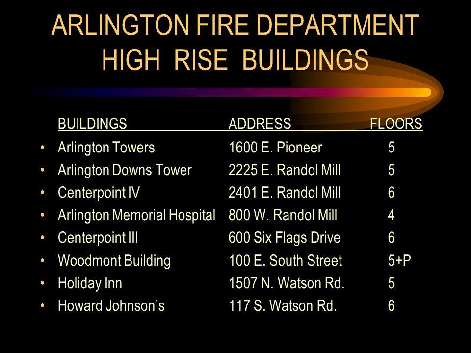 ARLINGTON FIRE DEPARTMENT HIGH RISE BUILDINGS BUILDINGSADDRESSFLOORS Arlington Towers1600 E.