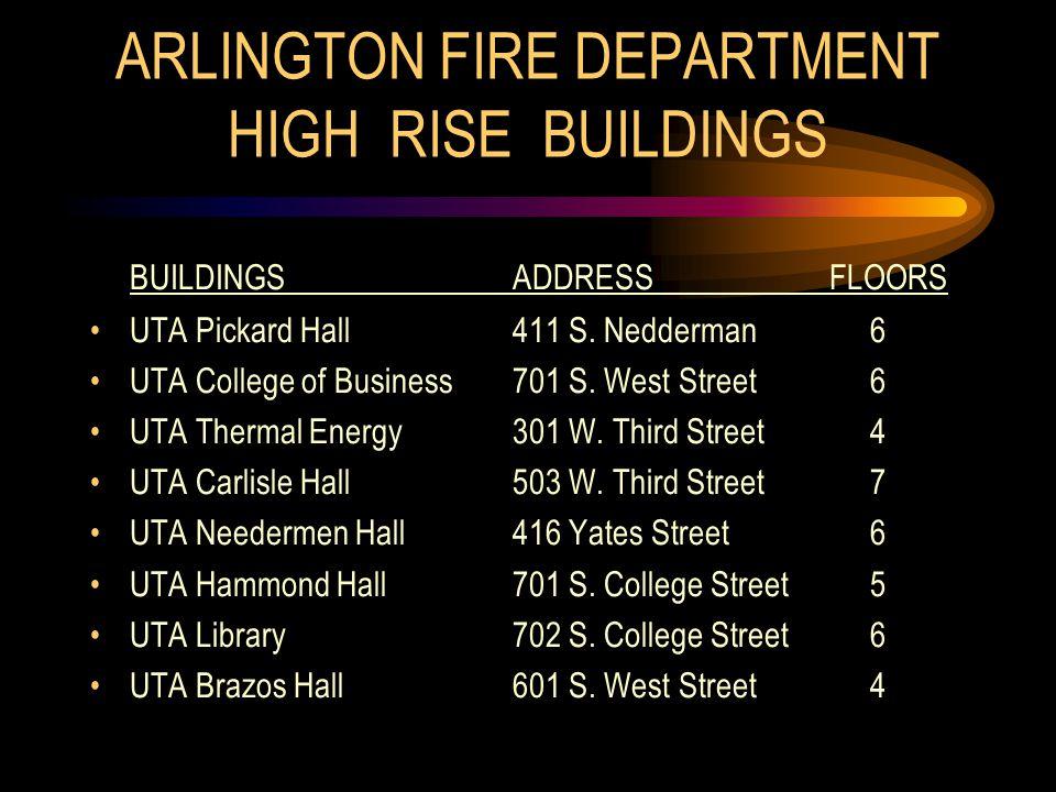 ARLINGTON FIRE DEPARTMENT HIGH RISE BUILDINGS BUILDINGSADDRESSFLOORS UTA Pickard Hall411 S.