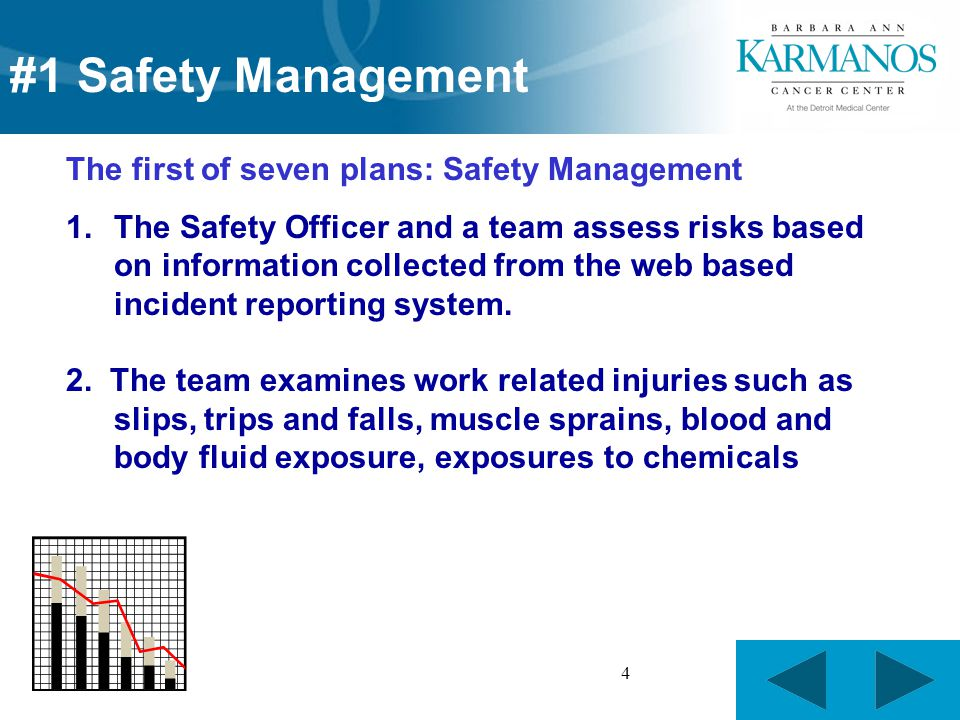 4 The first of seven plans: Safety Management 1.The Safety Officer and a team assess risks based on information collected from the web based incident reporting system.