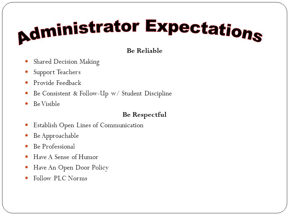 Be Reliable Shared Decision Making Support Teachers Provide Feedback Be Consistent & Follow-Up w/ Student Discipline Be Visible Be Respectful Establish Open Lines of Communication Be Approachable Be Professional Have A Sense of Humor Have An Open Door Policy Follow PLC Norms