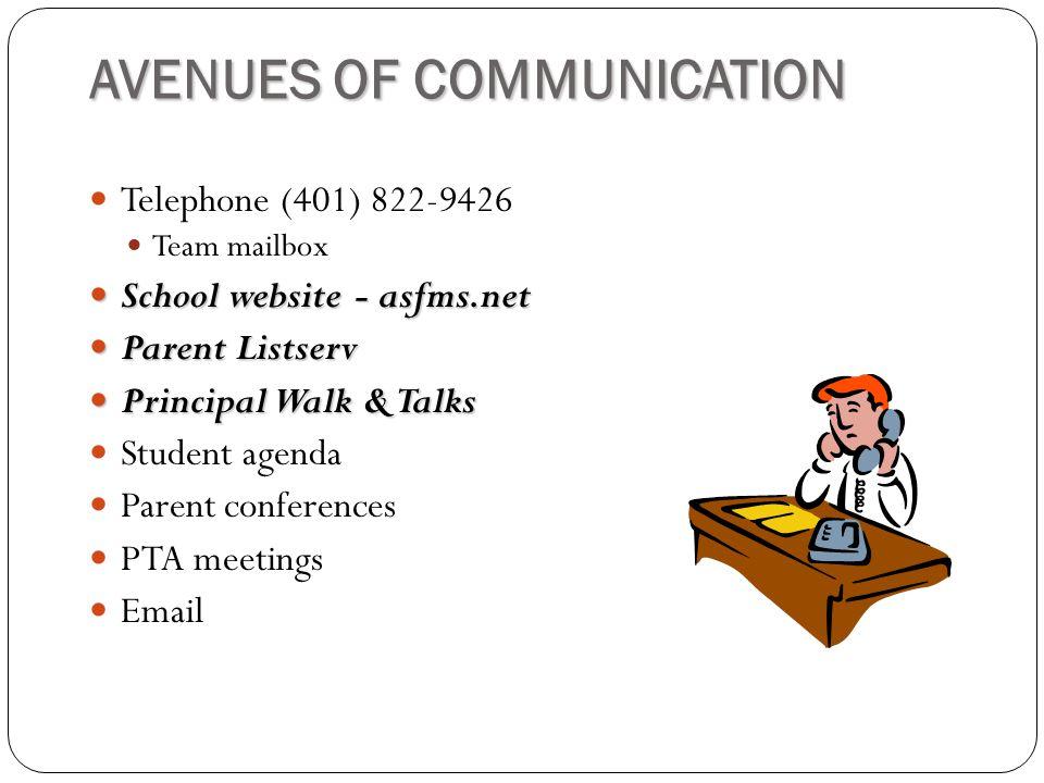 AVENUES OF COMMUNICATION Telephone (401) 822-9426 Team mailbox School website - asfms.net School website - asfms.net Parent Listserv Parent Listserv Principal Walk & Talks Principal Walk & Talks Student agenda Parent conferences PTA meetings Email
