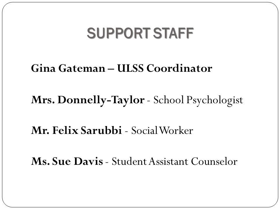 SUPPORT STAFF Gina Gateman – ULSS Coordinator Mrs.