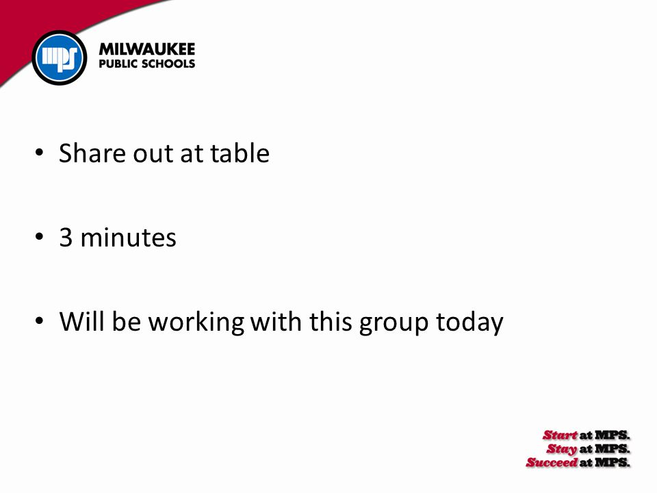 Share out at table 3 minutes Will be working with this group today