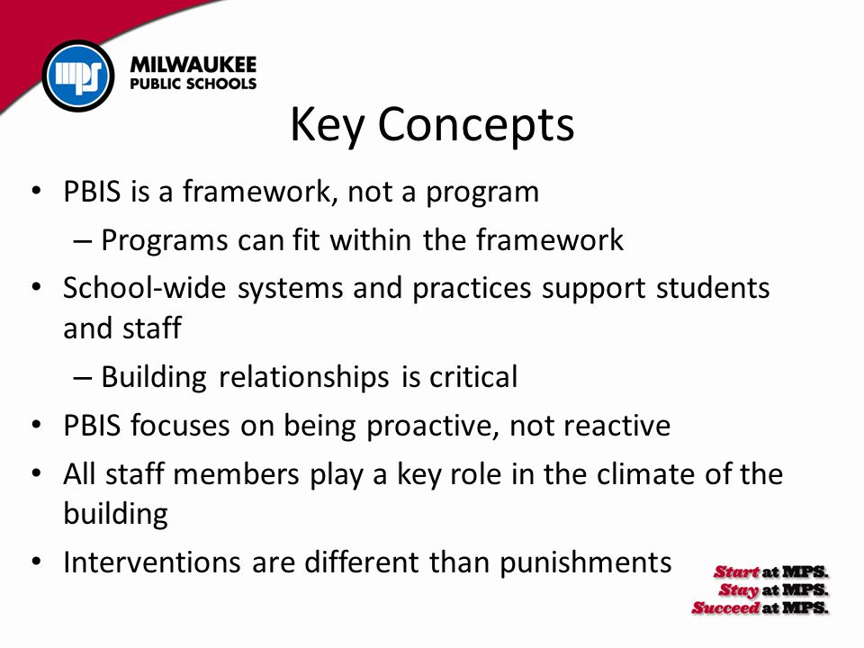 Key Concepts PBIS is a framework, not a program – Programs can fit within the framework School-wide systems and practices support students and staff – Building relationships is critical PBIS focuses on being proactive, not reactive All staff members play a key role in the climate of the building Interventions are different than punishments