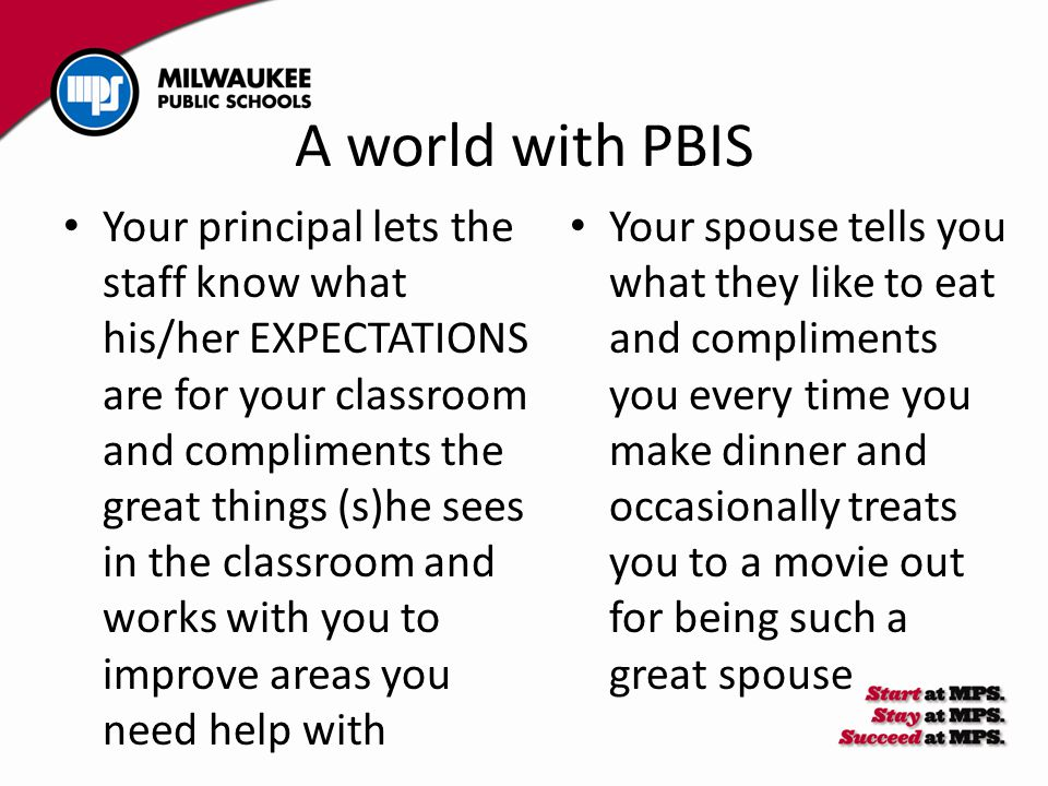 A world with PBIS Your spouse tells you what they like to eat and compliments you every time you make dinner and occasionally treats you to a movie ou