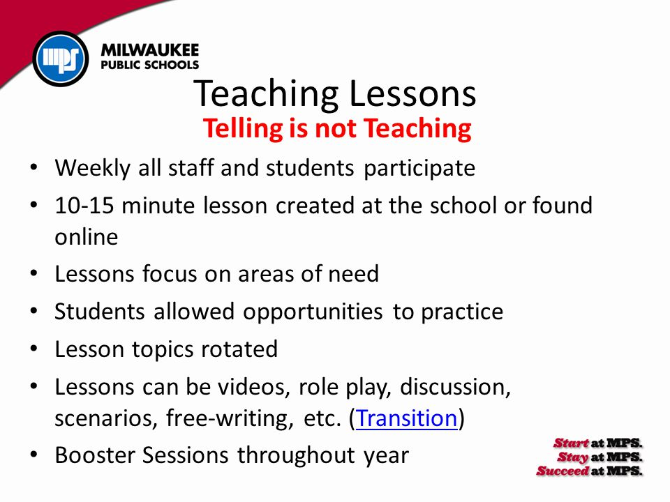 Teaching Lessons Telling is not Teaching Weekly all staff and students participate 10-15 minute lesson created at the school or found online Lessons f