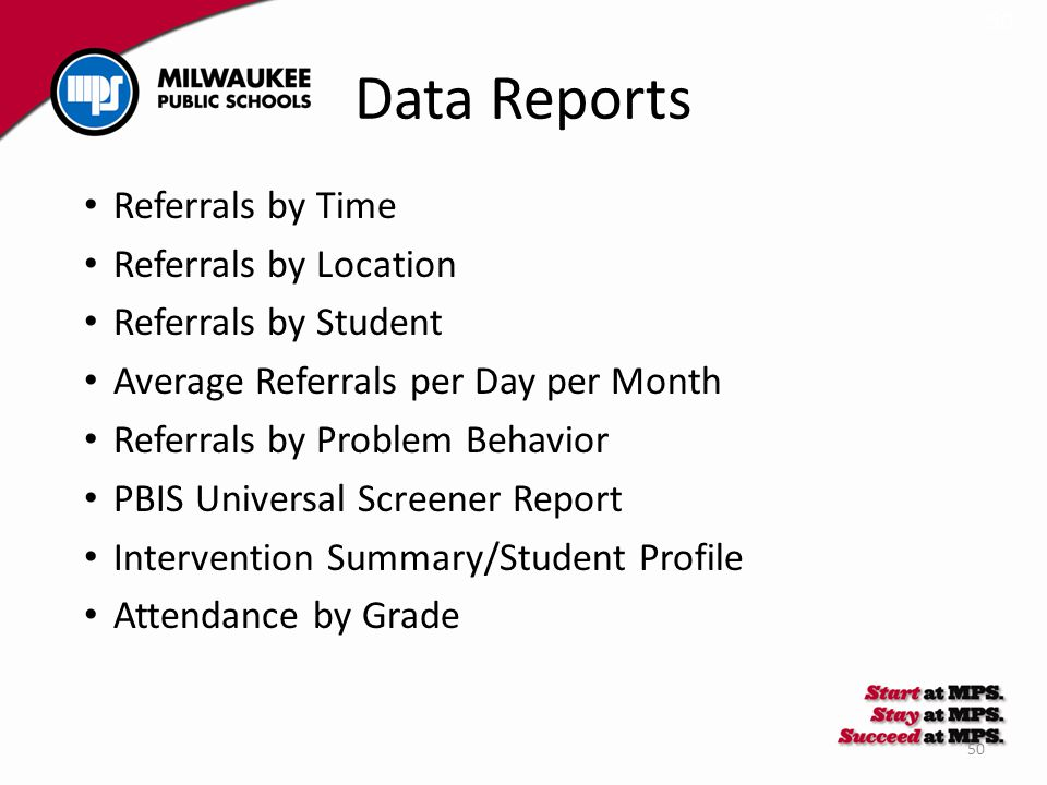 50 Data Reports Referrals by Time Referrals by Location Referrals by Student Average Referrals per Day per Month Referrals by Problem Behavior PBIS Un