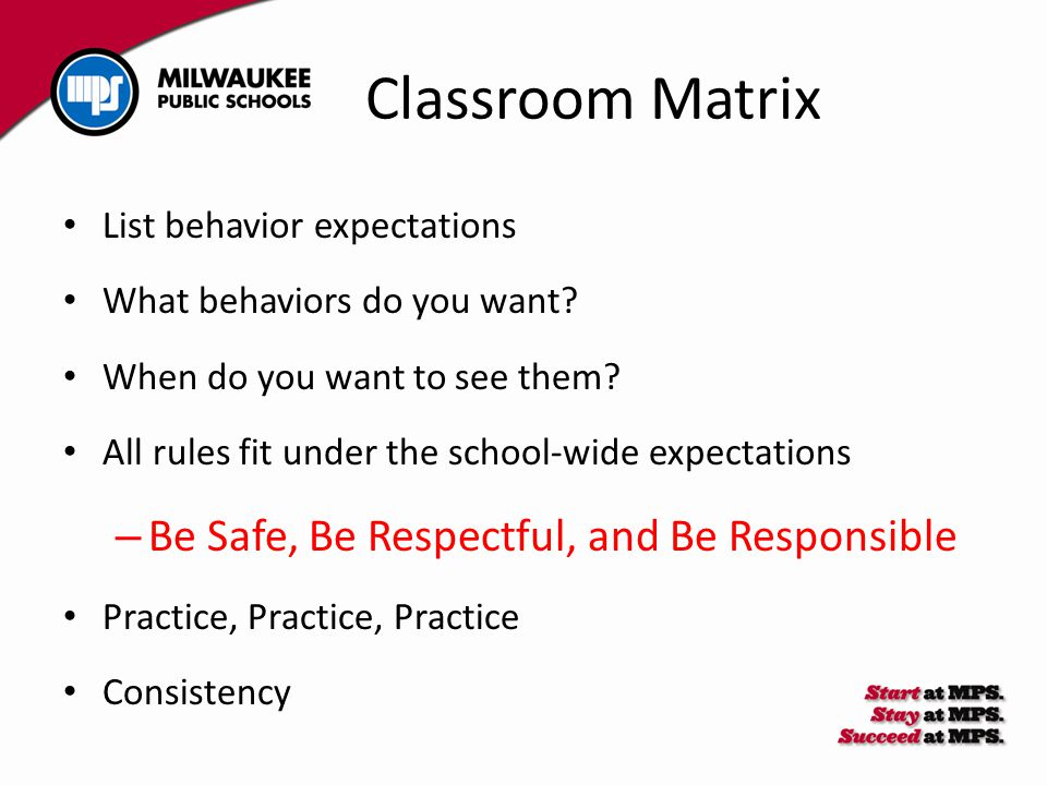 List behavior expectations What behaviors do you want? When do you want to see them? All rules fit under the school-wide expectations – Be Safe, Be Re