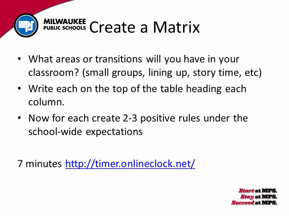 Create a Matrix What areas or transitions will you have in your classroom? (small groups, lining up, story time, etc) Write each on the top of the tab