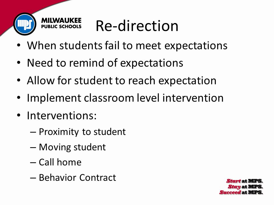 When students fail to meet expectations Need to remind of expectations Allow for student to reach expectation Implement classroom level intervention I
