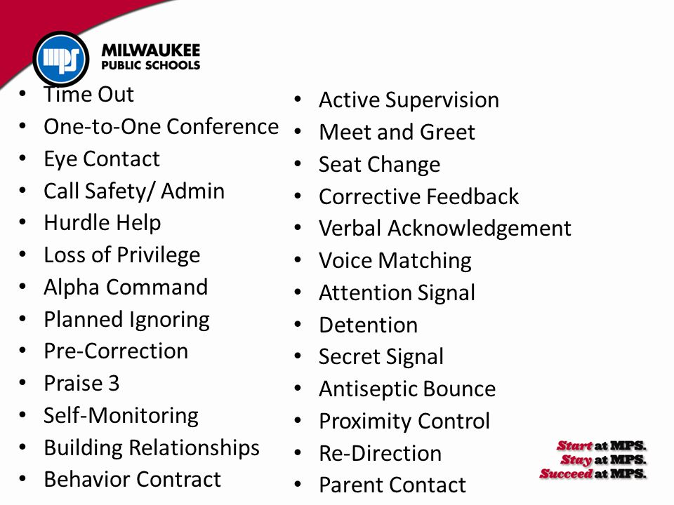 Active Supervision Meet and Greet Seat Change Corrective Feedback Verbal Acknowledgement Voice Matching Attention Signal Detention Secret Signal Antis