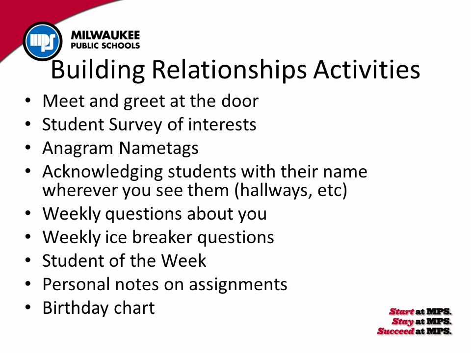 Building Relationships Activities Meet and greet at the door Student Survey of interests Anagram Nametags Acknowledging students with their name where