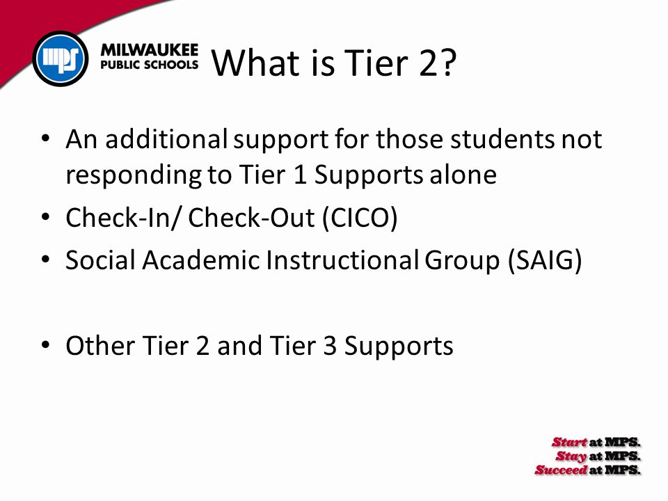 What is Tier 2? An additional support for those students not responding to Tier 1 Supports alone Check-In/ Check-Out (CICO) Social Academic Instructio
