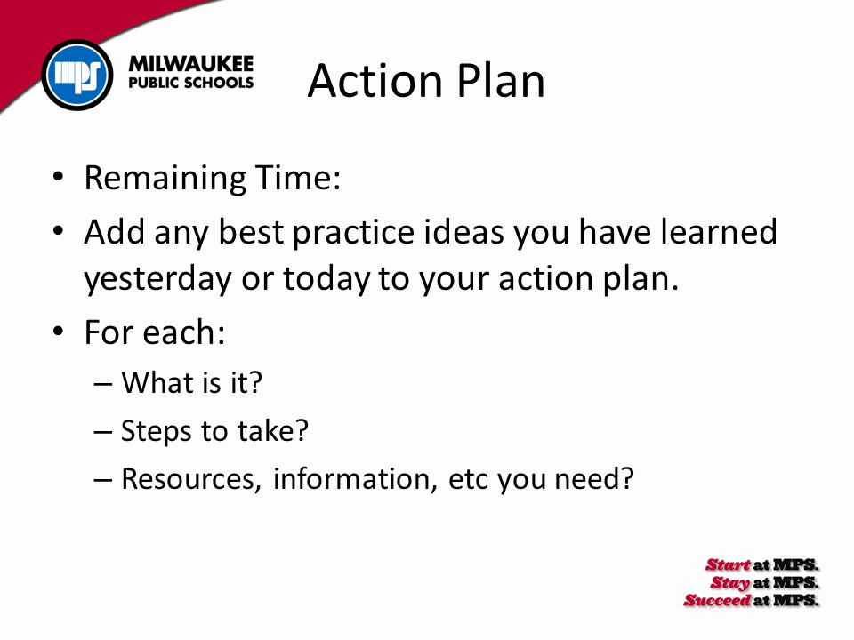 Action Plan Remaining Time: Add any best practice ideas you have learned yesterday or today to your action plan.