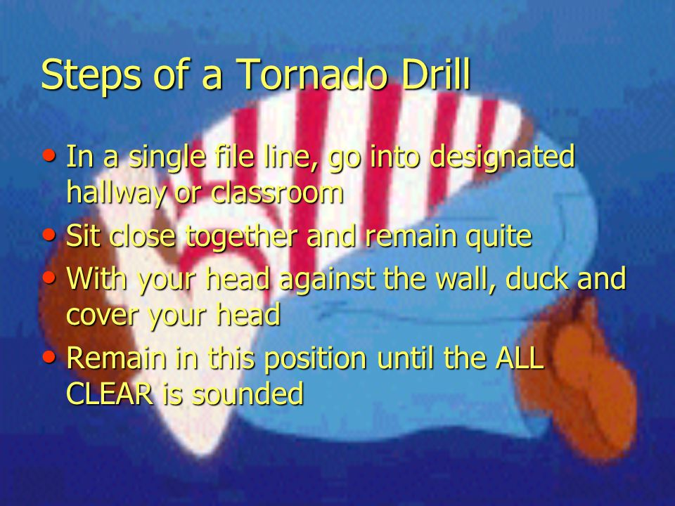 Steps of a Tornado Drill In a single file line, go into designated hallway or classroom In a single file line, go into designated hallway or classroom Sit close together and remain quite Sit close together and remain quite With your head against the wall, duck and cover your head With your head against the wall, duck and cover your head Remain in this position until the ALL CLEAR is sounded Remain in this position until the ALL CLEAR is sounded