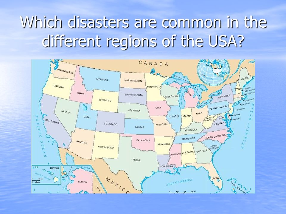 Which disasters are common in the different regions of the USA
