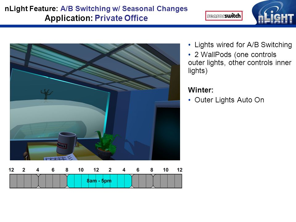 nLight Feature: A/B Switching w/ Seasonal Changes Application: Private Office Lights wired for A/B Switching 2 WallPods (one controls outer lights, other controls inner lights) Winter: Outer Lights Auto On