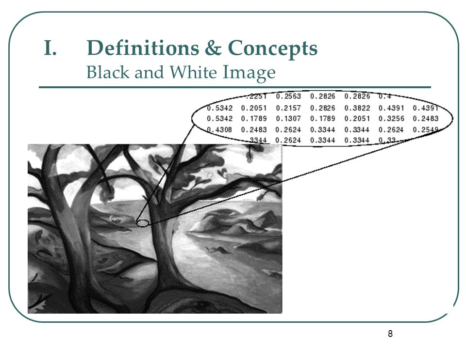 8 I.Definitions & Concepts Black and White Image