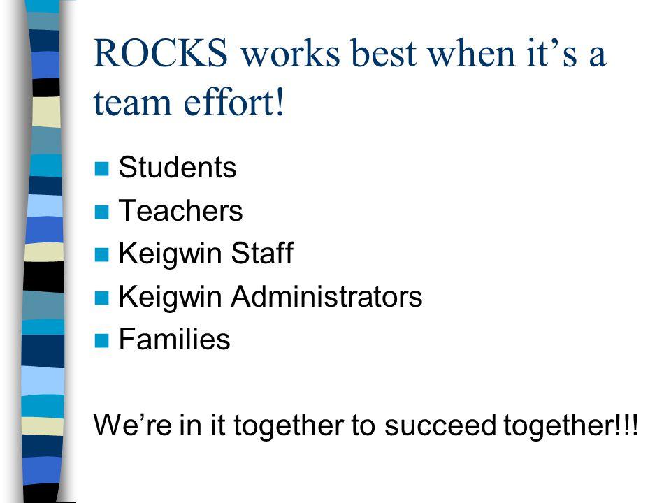 ROCKS works best when it's a team effort.