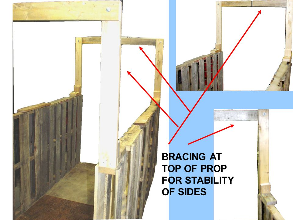 PROP WITH HOLE IN FLOOR COVERING OF PLYWOOD SO PROP COULD SIMULATE A HALLWAY.