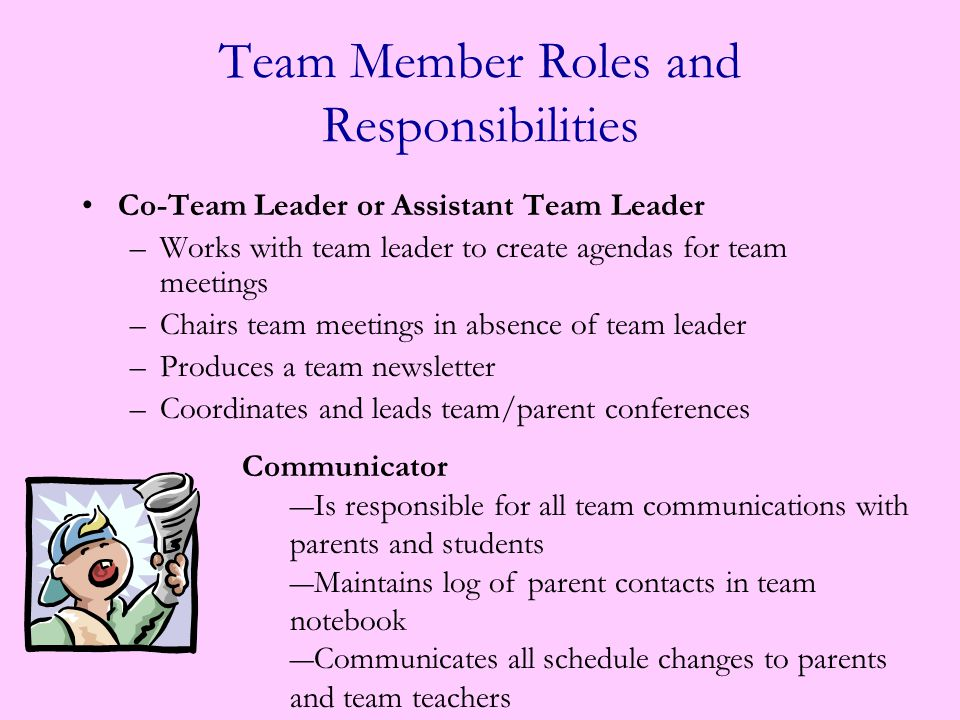 Team Leader –Responsible for mobilizing the adults on the team to move forward as a group and position themselves to be focused on the students on their team.