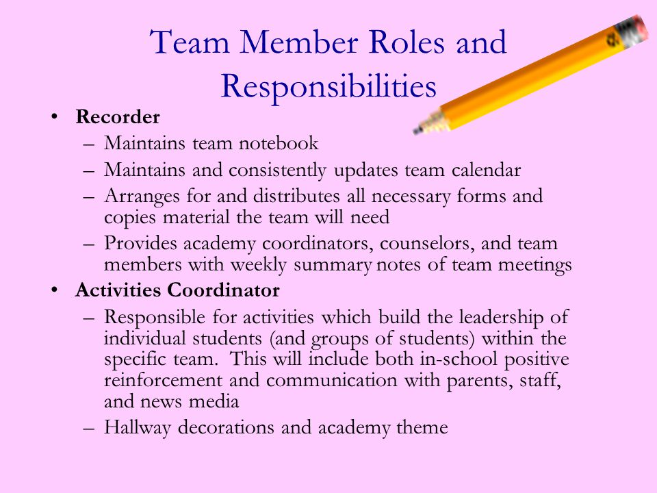Co-Team Leader or Assistant Team Leader –Works with team leader to create agendas for team meetings –Chairs team meetings in absence of team leader –Produces a team newsletter –Coordinates and leads team/parent conferences Communicator ―Is responsible for all team communications with parents and students ―Maintains log of parent contacts in team notebook ―Communicates all schedule changes to parents and team teachers