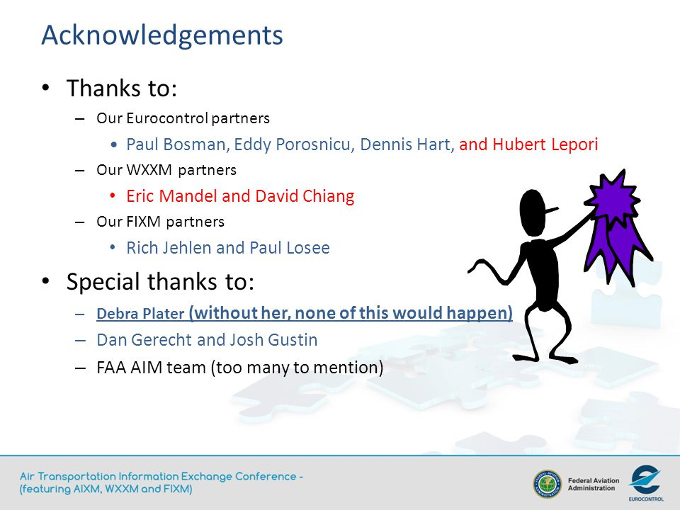 Acknowledgements Thanks to: – Our Eurocontrol partners Paul Bosman, Eddy Porosnicu, Dennis Hart, and Hubert Lepori – Our WXXM partners Eric Mandel and David Chiang – Our FIXM partners Rich Jehlen and Paul Losee Special thanks to: – Debra Plater (without her, none of this would happen) – Dan Gerecht and Josh Gustin – FAA AIM team (too many to mention)