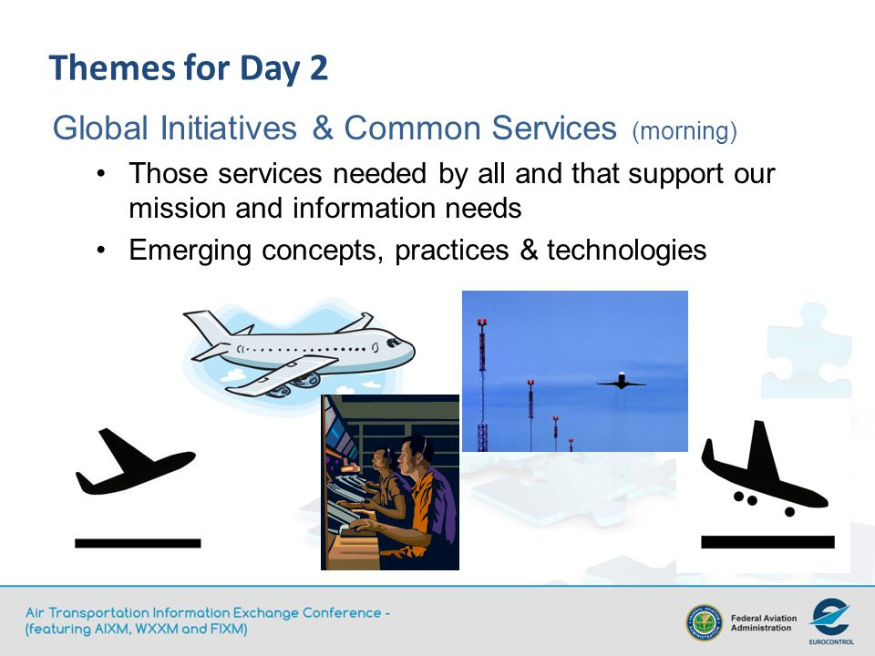 Themes for Day 2 Global Initiatives & Common Services (morning) Those services needed by all and that support our mission and information needs Emerging concepts, practices & technologies
