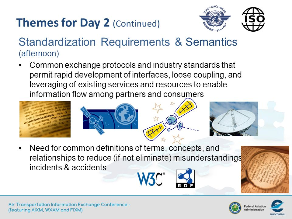 Themes for Day 2 (Continued) Standardization Requirements & Semantics (afternoon) Common exchange protocols and industry standards that permit rapid development of interfaces, loose coupling, and leveraging of existing services and resources to enable information flow among partners and consumers Need for common definitions of terms, concepts, and relationships to reduce (if not eliminate) misunderstandings, incidents & accidents