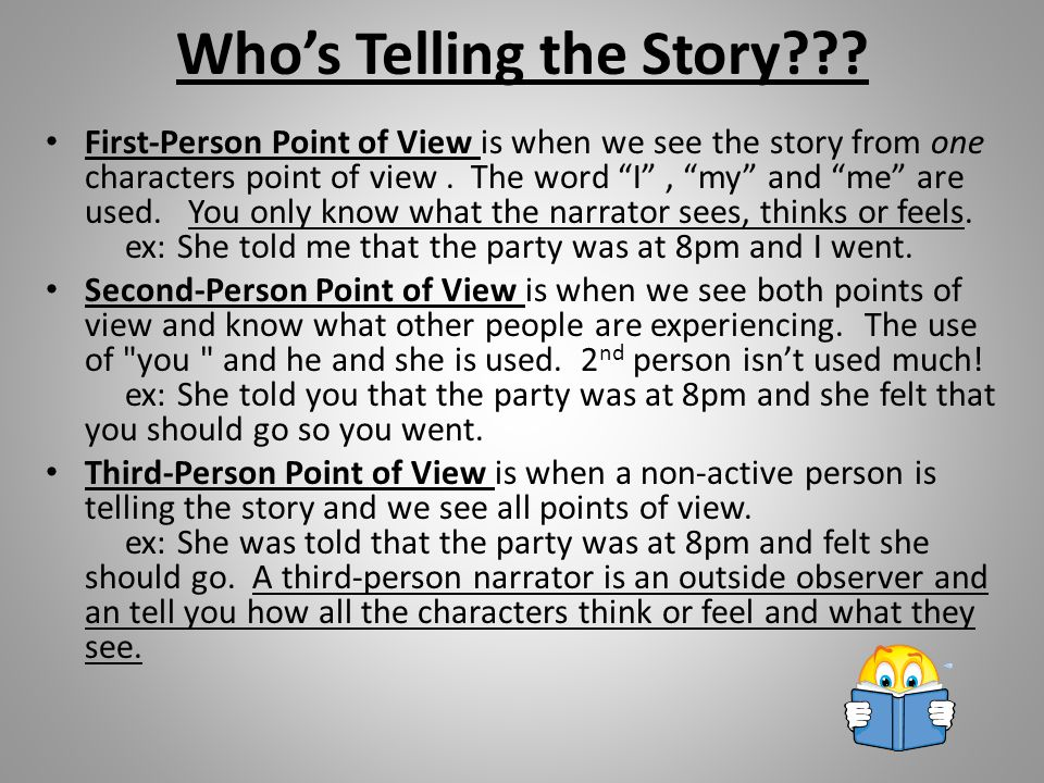Author's Point of View The author will want you to see the topic from his/her point of view or through his/her eyes.