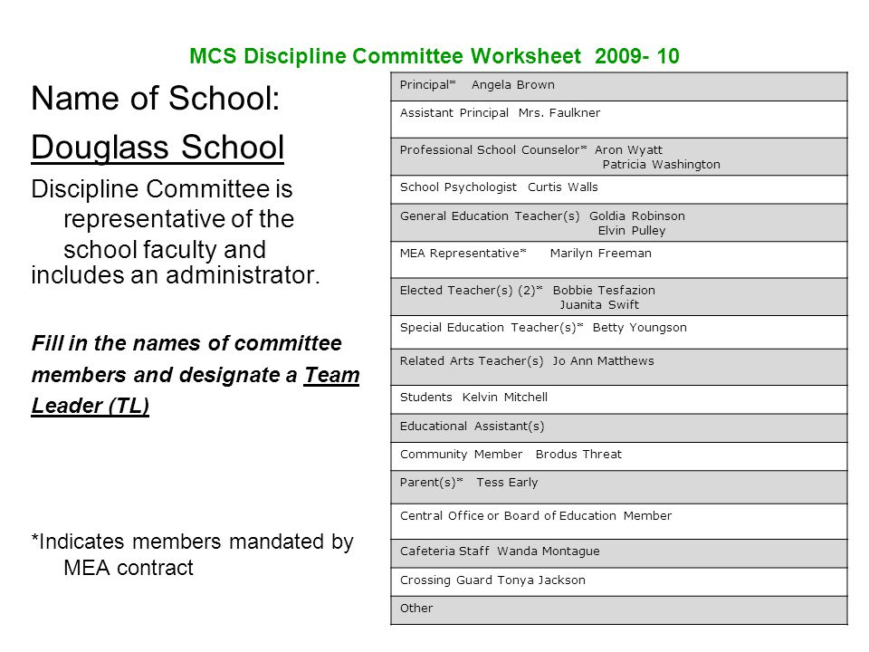 MCS Discipline Committee Worksheet 2009- 10 Name of School: Douglass School Discipline Committee is representative of the school faculty and includes an administrator.