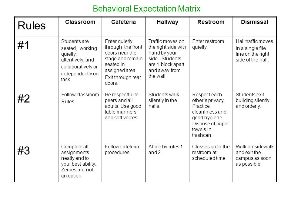 Behavioral Expectation Matrix Rules ClassroomCafeteriaHallwayRestroomDismissal #1 Students are seated, working quietly, attentively, and collaboratively or independently on task.