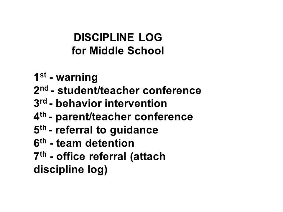 DISCIPLINE LOG for Middle School 1 st - warning 2 nd - student/teacher conference 3 rd - behavior intervention 4 th - parent/teacher conference 5 th - referral to guidance 6 th - team detention 7 th - office referral (attach discipline log)