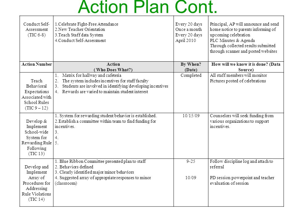 Action Plan Cont.