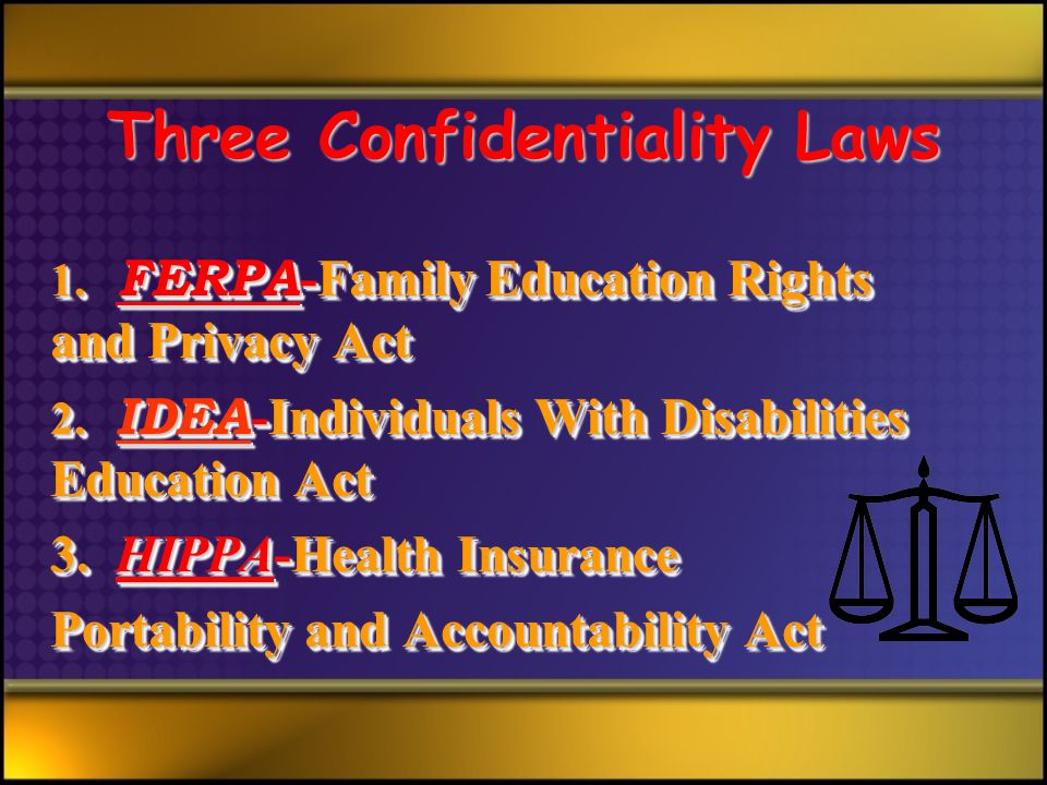 Three Confidentiality Laws 1. FERPA -Family Education Rights and Privacy Act 2.
