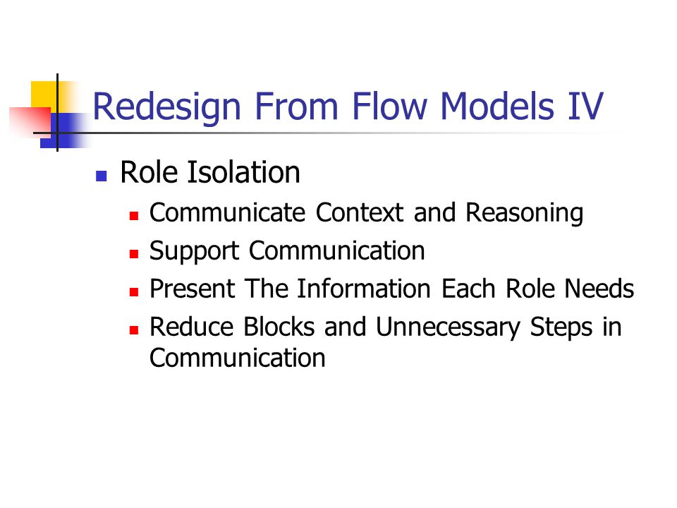 Redesign From Flow Models IV Role Isolation Communicate Context and Reasoning Support Communication Present The Information Each Role Needs Reduce Blocks and Unnecessary Steps in Communication