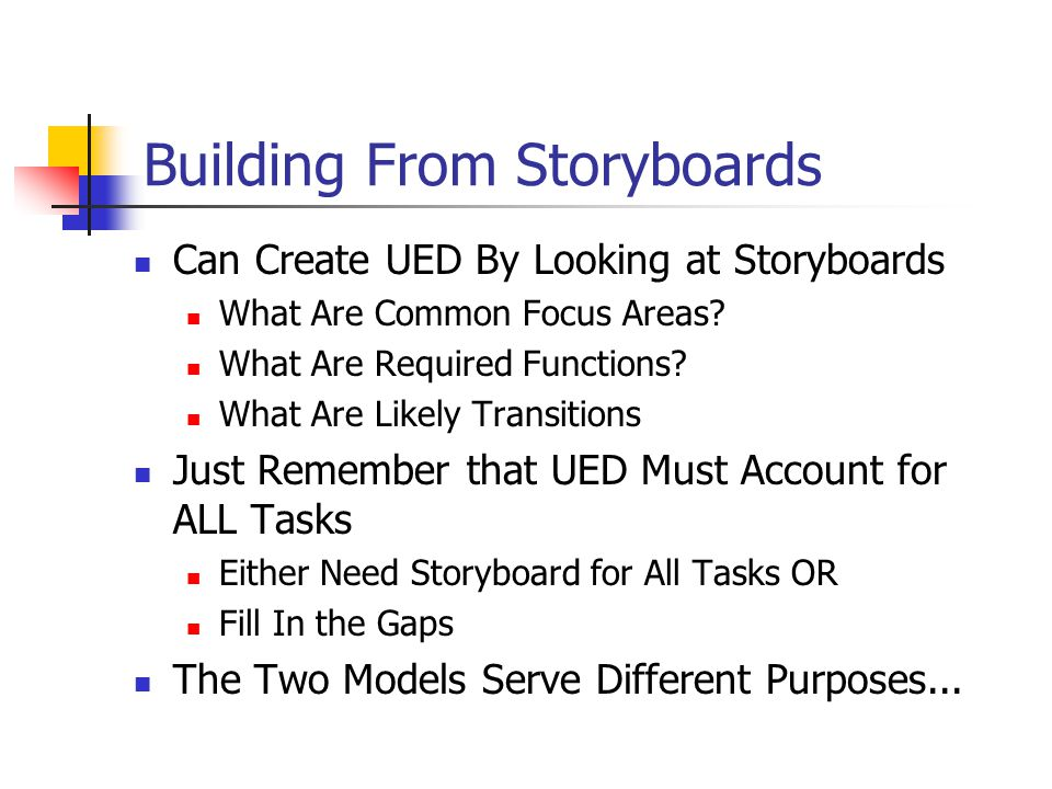 Building From Storyboards Can Create UED By Looking at Storyboards What Are Common Focus Areas.