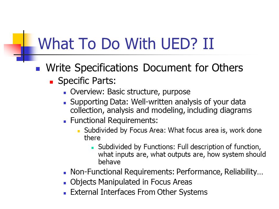 What To Do With UED.