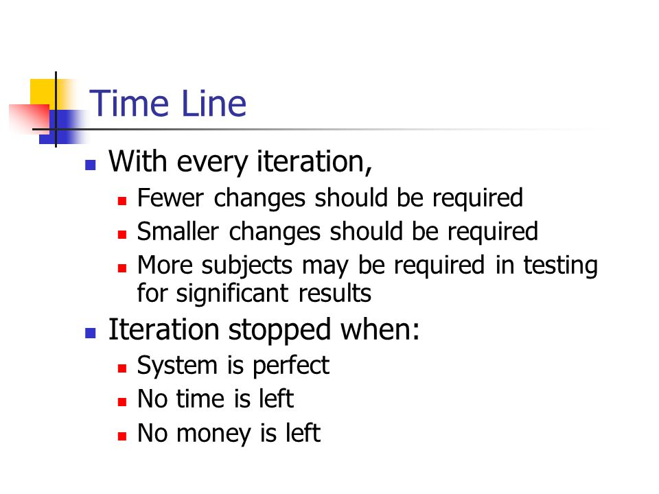 Time Line With every iteration, Fewer changes should be required Smaller changes should be required More subjects may be required in testing for significant results Iteration stopped when: System is perfect No time is left No money is left