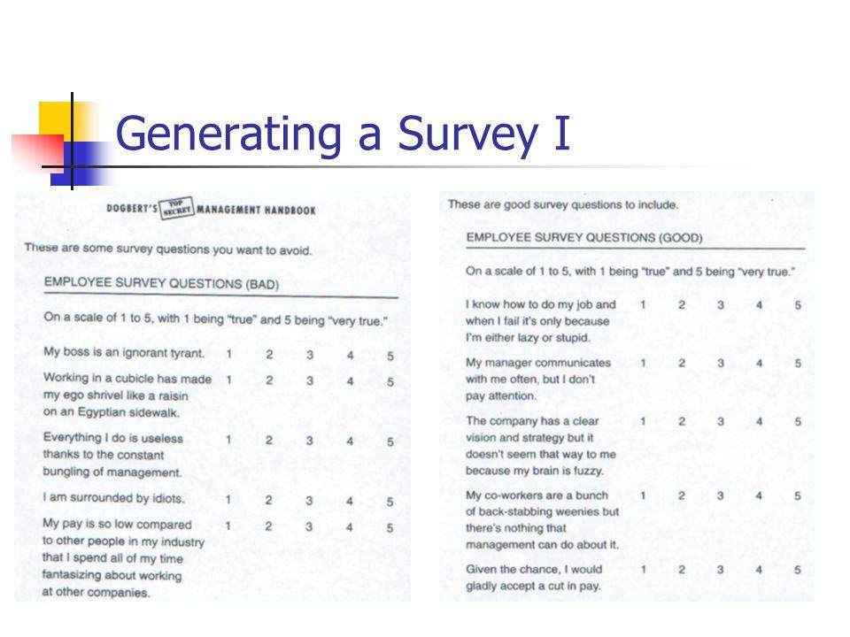 Generating a Survey I