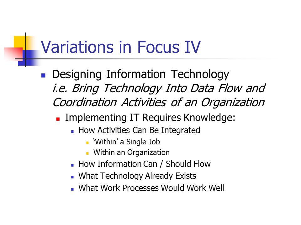 Variations in Focus IV Designing Information Technology i.e.