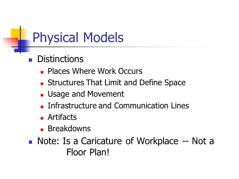 Physical Models Distinctions Places Where Work Occurs Structures That Limit and Define Space Usage and Movement Infrastructure and Communication Lines Artifacts Breakdowns Note: Is a Caricature of Workplace -- Not a Floor Plan!