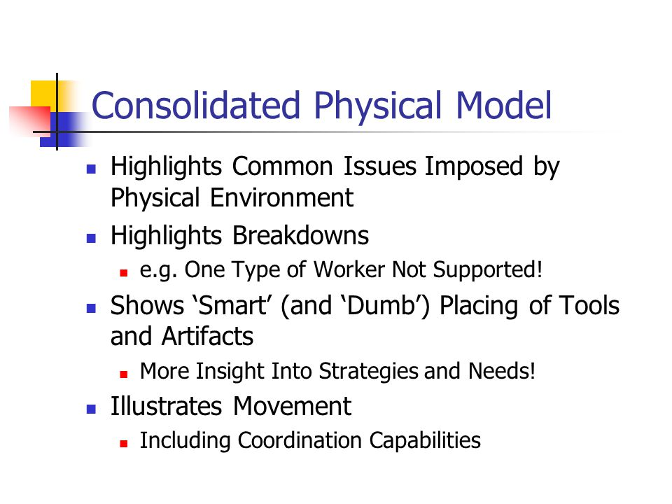 Consolidated Physical Model Highlights Common Issues Imposed by Physical Environment Highlights Breakdowns e.g.
