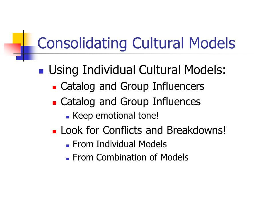 Consolidating Cultural Models Using Individual Cultural Models: Catalog and Group Influencers Catalog and Group Influences Keep emotional tone.