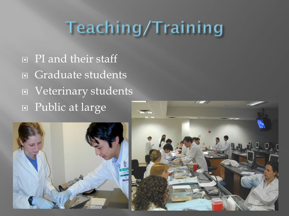  PI and their staff  Graduate students  Veterinary students  Public at large